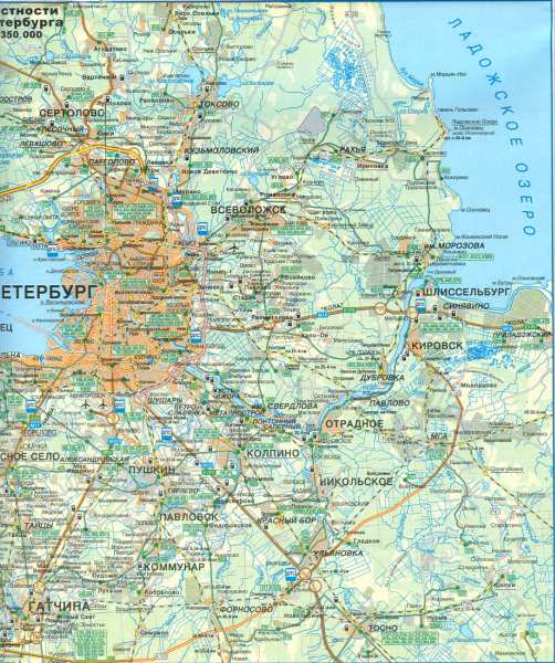 Карта окрестностей санкт петербурга