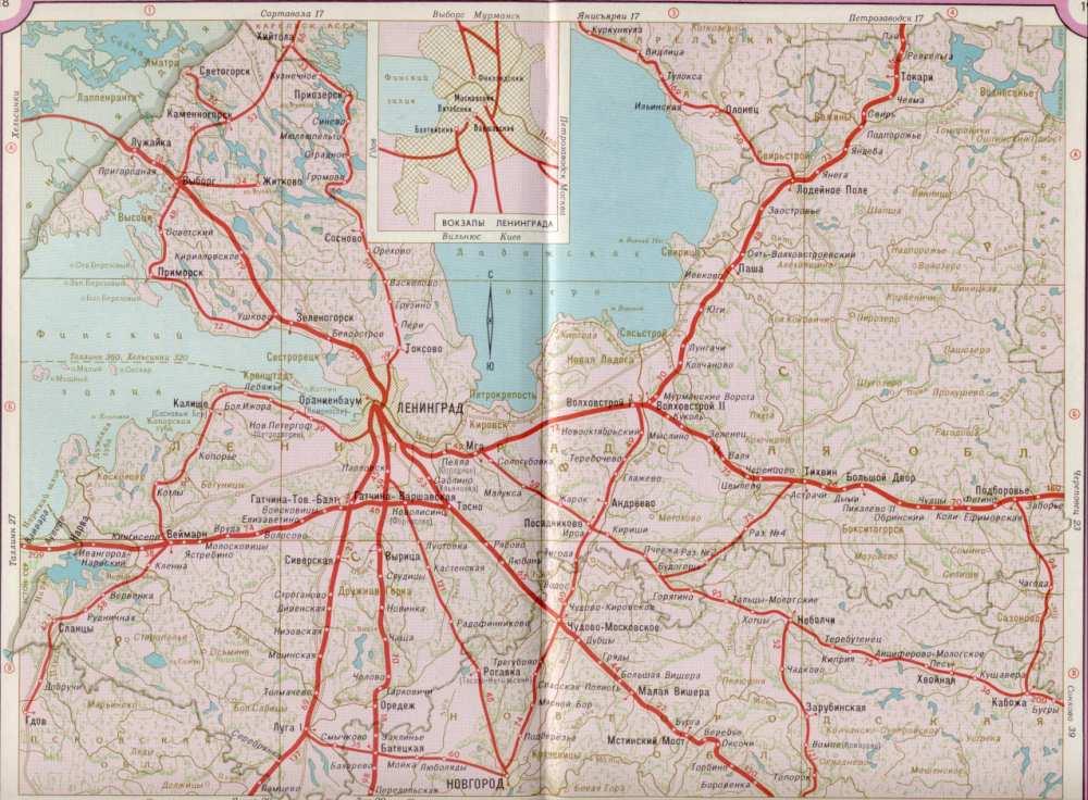 Карта жд Лен области,